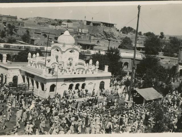 'Gurdwara Panja Sahib':Dedicated to Guru Nanak in Hasan Abdal, Kaimalpur district (now in Pakistan). Clicked in April 1932.