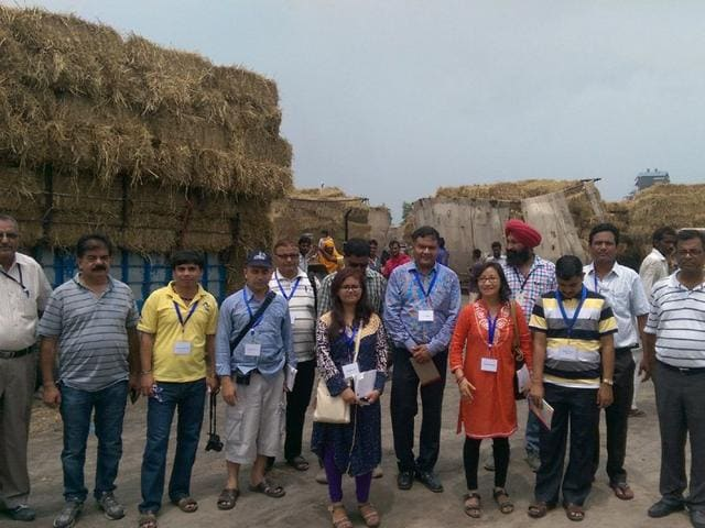 Members of a delegation from Nepal during their visit at Zamindara Farmsolutions, Fazilka. HT PHOTO