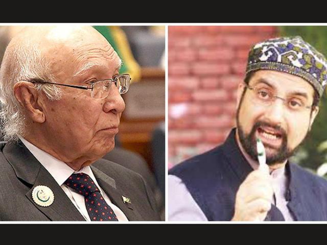 A file photo of Sartaj Aziz, the key adviser on foreign policy to Pakistani Prime Minister Nawaz Sharif. (AFP Photo) and Mirwaiz Umar Farooq