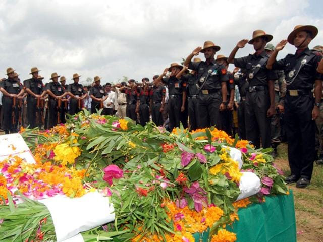 Lance Naik Ramesh Baghel of Mahar regiment was cremated with full state honours at Rajpur in Barwani on Wednesday.