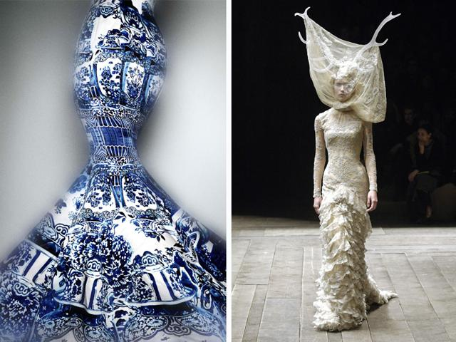From L: China: Through the Looking Glass. Evening dress by Roberto Cavalli, fall/winter 2005–6 (Photo courtesy: Platon, The Metropolitan Museum of Art). Tulle and lace dress with veil and antlers by Alexander McQueen. (Photo courtesy: firstVIEW)