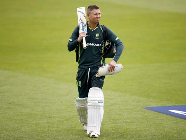 Australia's captain Michael Clarke walks off the pitch after a practice session at the Oval in London. (AFP Photo)