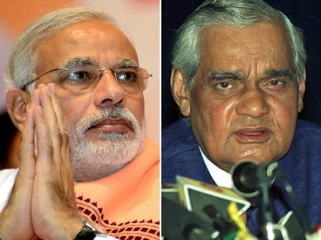 A combination photo of Prime Minister Narendra Modi and former PM Atal Bihari Vajpayee. (HT Photos)