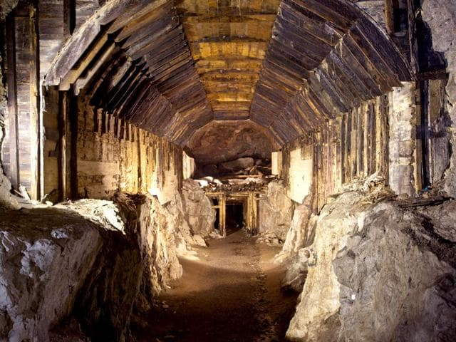 This file photo from March 2012 shows a part of a subterranean system built by Nazi Germany in what is today Gluszyca-Osowka, Poland. According to Polish lore, a Nazi train loaded with gold, and weapons vanished into a mountain at the end of World War II, as the Germans fled the Soviet advance. Now two men claim they know the location of the mystery train and are demanding 10% of its value in exchange for revealing its location. (AP Photo)