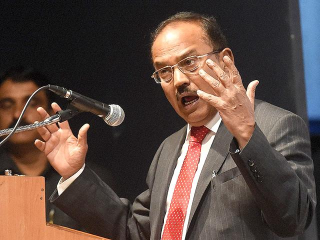 National Security Advisor Ajit Doval speaks at a function in Mumbai. Doval is the Modi government's strategic affairs advisor (PTI photo)