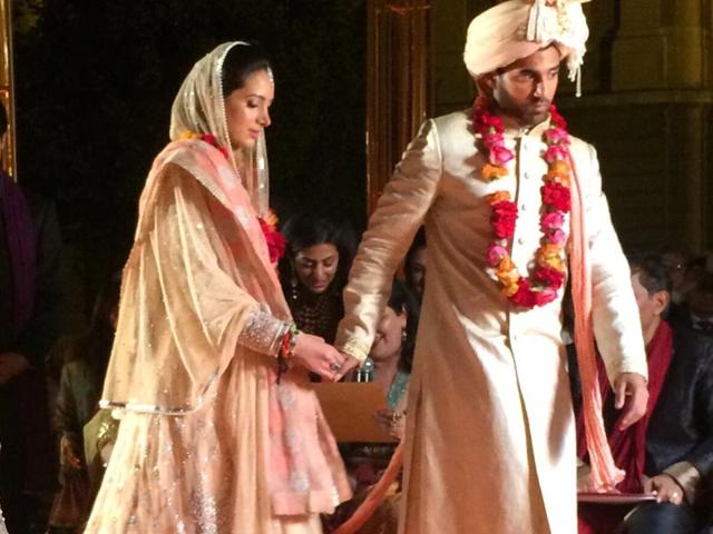 Swraj Paul's grandson Akhil Paul tied the knot with Bisma Mowjee in Budapest. (HT Photo)