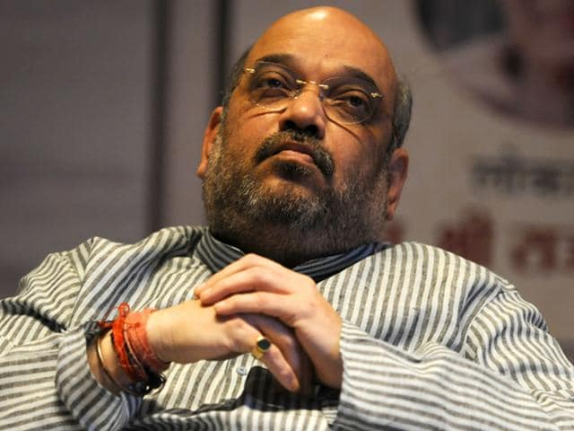 BJP president Amit Shah and three other senior party leaders were trapped inside a lift for around 40 minutes at the state guest house in Patna. (Sonu Mehta/HT Photo)