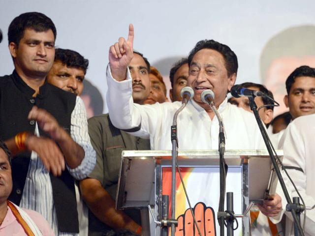 Senior Congress leader Kamal Nath addressing party workers in Jabalpur on Friday. (HT photo)