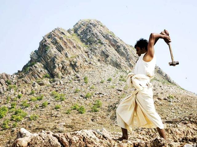 Nawazuddin Siddiqui plays Dashrath Manjhi in Ketan Mehta's Manjhi The Mountain Man. Dashrath carved a way through a mountain in Gehlaur toiling for 22 years with a chisel and hammer, all alone.