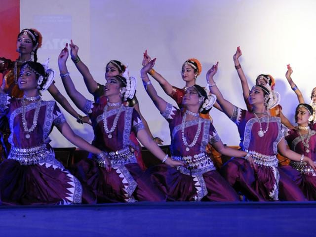 Artistes perform Odishi dance at the 31st IATO convention in Indore on Thursday. (Shankar Mourya/HT photo)