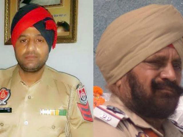 Head constable Ashok Kumar (left) and sub-inspector Pritam Singh (right). (HT Photo)