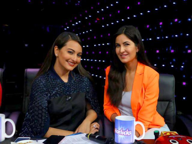 Sonakshi Sinha and Katrina Kaif on the sets of Indian Idol Junior.