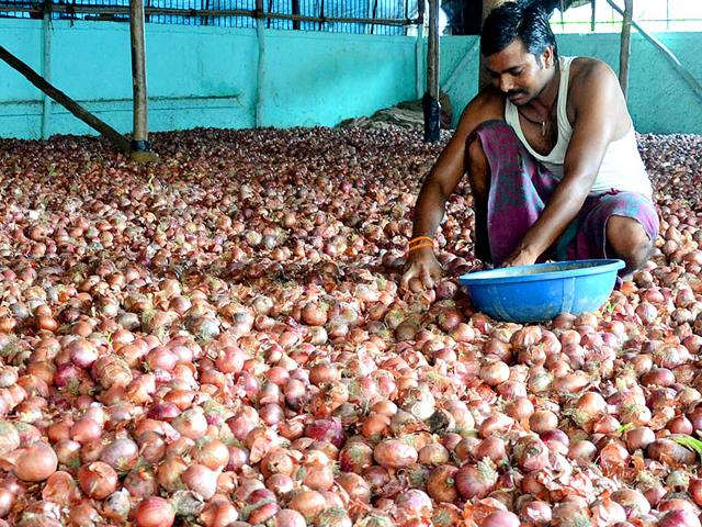 Onions stored at a warehouse at APMC's Market in Navi Mumbai. (Photo: Bachchan Kumar)