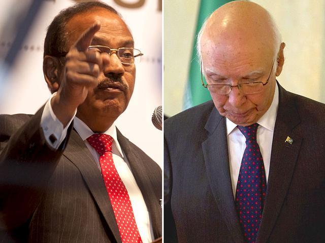 A combination photo of National Security Adviser Ajit Kumar Doval and his Pakistani counterpart Sartaj Aziz (File Photos)