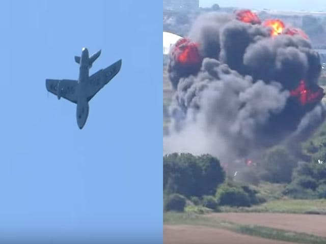 A Hawker Hunter plane has crashed at Shoreham Airshow in West Sussex. (Screen grab from YouTube video posted by Dan Tube)