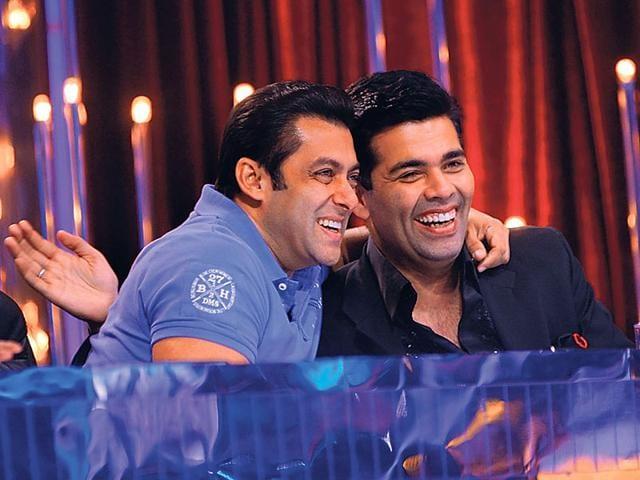 Salman Khan and Karan Johar share a candid moment.