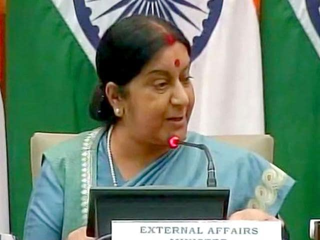 External affairs minister Sushma Swaraj said NSA talks between India, Pakistan won't happen if any issue other than terror is brought up. (ANI Photo)