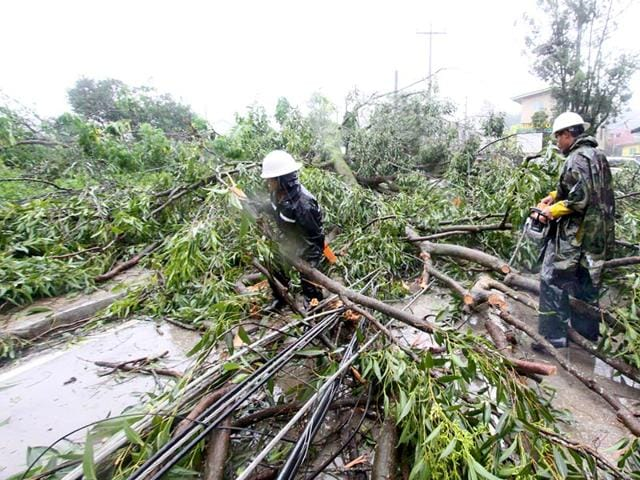 Workers clear a road with fallen trees after Typhoon Goni battered Baguio city in northern Philippines. (Reuters Photo)