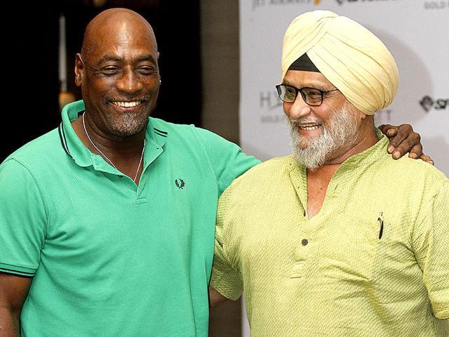 Vivian Richards (Former West Indies Batsman) with Bishan Singh Bedi (Former Indian Cricketer) during an Interview at Hyatt Hotel, New Delhi. (Virendra Singh Gosain/ HT Photo)