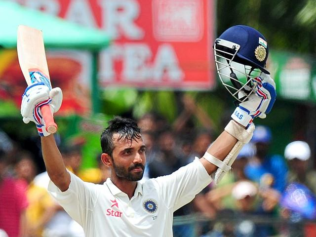 Ajinkya Rahane celebrates after scoring a century during the fourth day of the second Test between Sri Lanka and India at the P Sara Oval Cricket Stadium in Colombo on August 23, 2015. (AFP Photo)