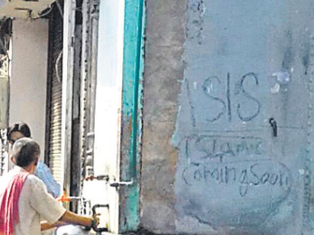 The Islamic State grafitti in Agra. (HT Photo)