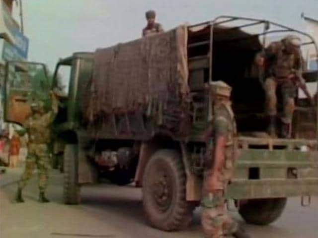 Three militants have been killed in an encounter with security forces in Handwara of Jammu and Kashmir while one jawan has also been injured. (Photo credit: @ani_news)