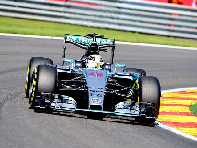 Mercedes driver Lewis Hamilton in action during the qualifying session for the Belgian Grand Prix at the Spa-Francorchamps circuit in Spa, Belgium on August 22, 2015. (AFP Photo)