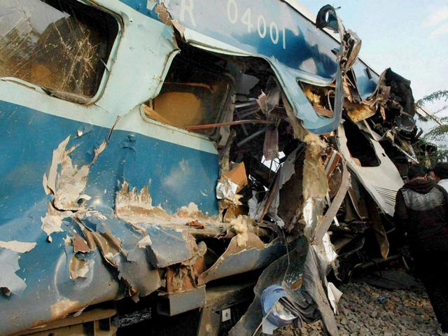 The mangled remains of a coach of the Bangalore-Nanded Express which rammed into a lorry in Anantapur district of Andhra Pradesh. (PTI Photo)