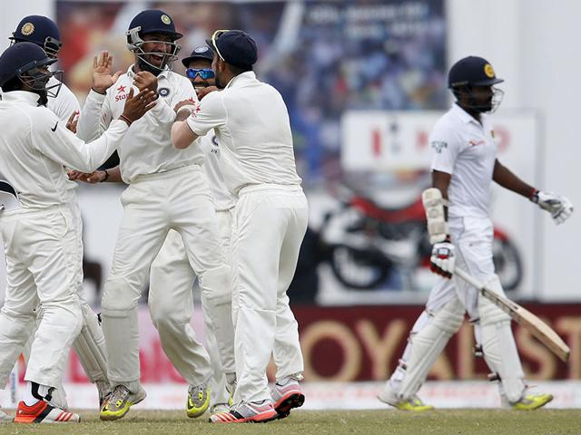 Ravichandran Ashwin acknowledges the crowd after his six-wicket haul on Day 1 of the first Test between India and Sri Lanka in Galle, Sri Lanka, on August 12, 2015. (AP Photo)