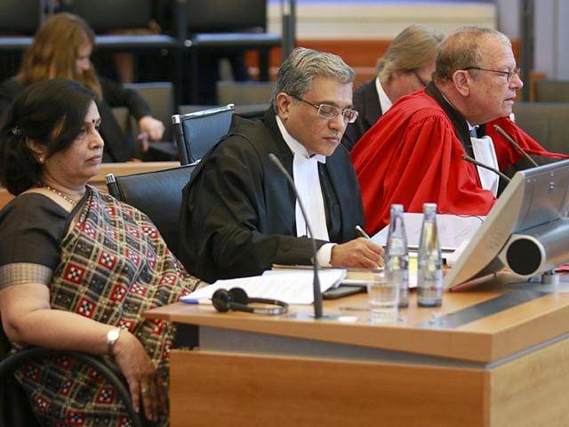 (From left) Agent of the Indian delegation, Neeru Chadha, co-agent and Ambassador of India to Germany Vijay Gokhale, and Counsel Alain Pellet at the first public hearing on a case involving two Italian marines in Germany earlier this month. The marines are accused of killing two Indian fisherman in 2012. (AP File Photo)