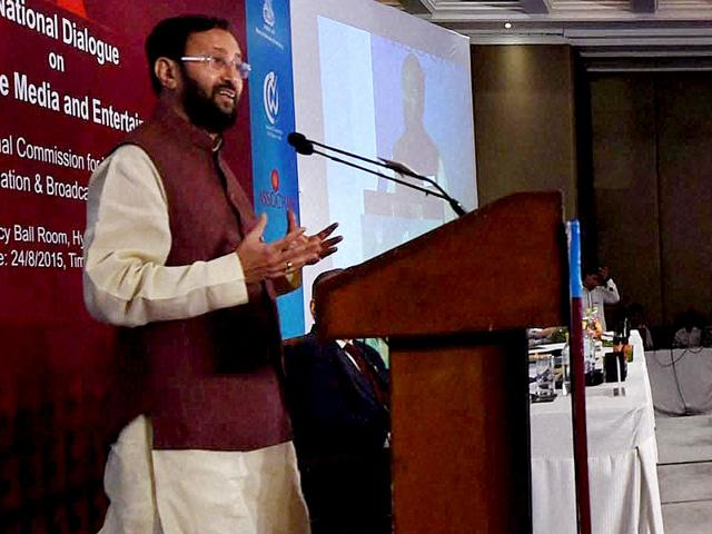 """Minister of state (independent charge) of environment, forest and climate change, Prakash Javadekar speaks at the """"National Dialogue on an Equal Space: Gender Parity in the media and entertainment sector"""" in New Delhi on Monday. (PTI Photo)"""