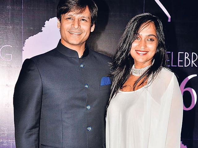 Vivek Oberoi and Priyanka Alva Oberoi were also spotted at Chiranjeevi's birthday bash. (Photo: Viral Bhayani)