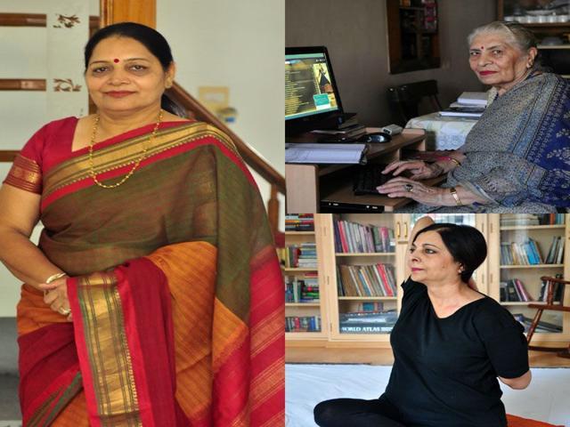 (Clockwise) Sangeeta Bansal Diwan, Neelam Dhamija and Harmeet Kaur. (Sant Arora/HT)