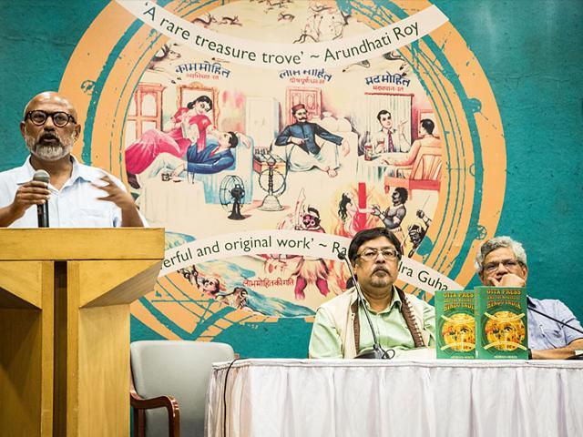 Journalist Akshaya Mukul at the launch of his book named Gita Press and the Making of Hindu India. BJP leader Chandan Mitra and CPI-M general secretary Sitaram Yechury spoke at the event. (Abhishek Saha/HT Photo)