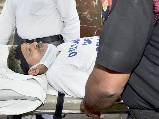 Havaldar Ashok Kumar Chauhan, on fast-unto-death over the One Rank One Pension issue, is taken to the hospital after his health deteriorated in New Delhi on Tuesday. (PTI Photo)