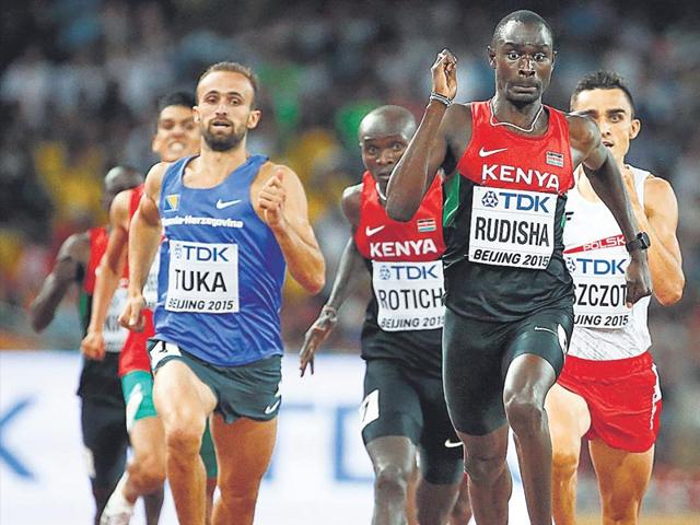 The strain of the last 50 metres was clear on David Rudisha's face as he held off Pole Adam Kszczot (right) to win the 800 metres gold. (Reuters Photo)
