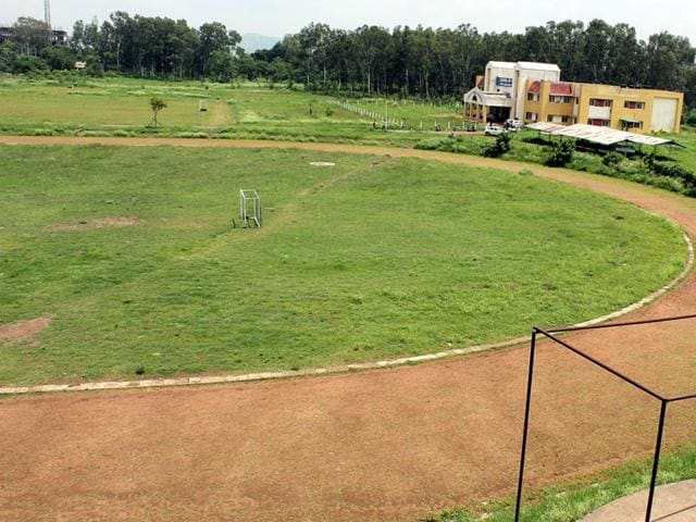 Athletic track at DAVV's University Teaching Department in Indore. (Shankar Mourya/HT file photo)
