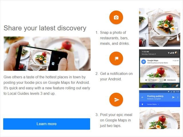 Google Map's newest features allows users to tag photos of food to restaurant locations.