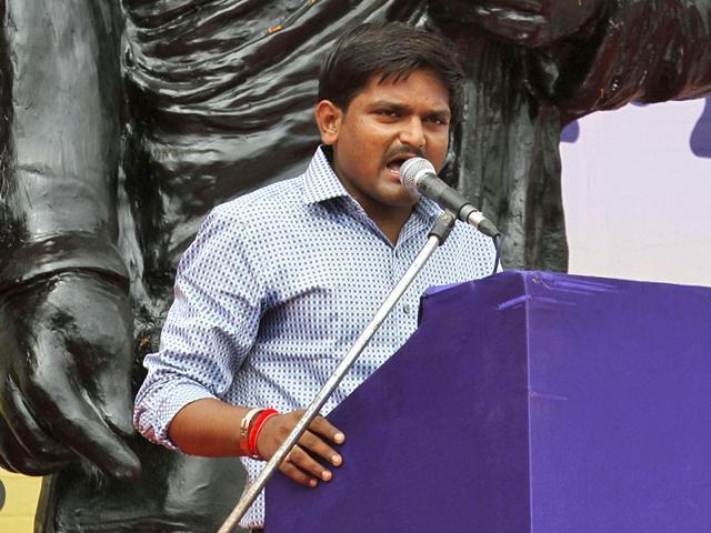 Hardik Patel, Convenor of Patidar Andolan Samiti speaks during a mega rally in Ahmadabad.(AP Photo)