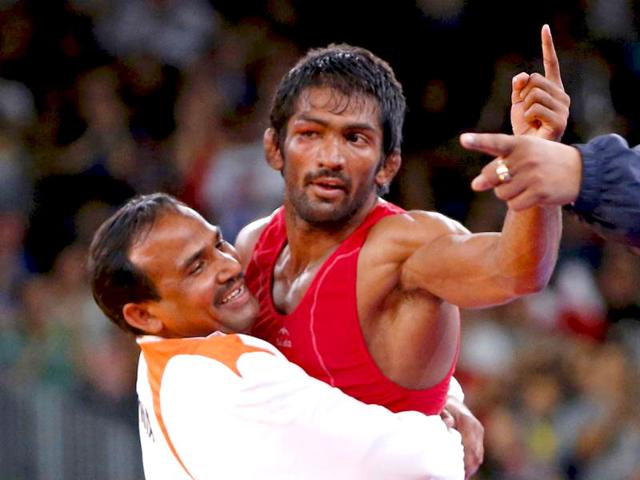 Yogeshwar Dutt reacts after defeating North Korea's Jong Myong Ri for the bronze medal on the Men's 60kg Freestyle wrestling at the ExCel venue during the London 2012 Olympic Games. (Reuters file photo)