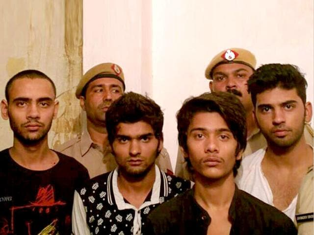 The four accused arrested by police who shot dead Mohit Jhangu outside a cafe in Gurgaon. (HT Photo)