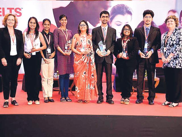 Winners of the IELTS awards along with representatives of the British Council.