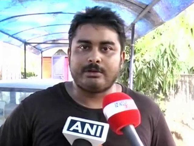 Mikhail Bora, the son of 9X Media founder Indrani Mukerjea from an earlier relationship, talks to the media. (HT Photo)