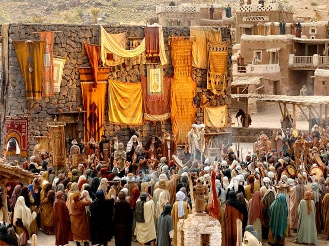 A picture taken on January 2, 2013 shows actors performing on the set of the film Muhammad, the first part of a trilogy on the life of the prophet. The award-winning director of Iran's most expensive film, Muhammad, Majid Majidi says hopes it will improve Islam's violent image, but the religious epic risks angering many Muslims despite not showing the prophet's face. (AFP)