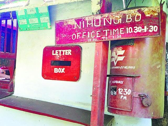 The Nihung post office was established post Independence by the postal department of India. (HT Photo)