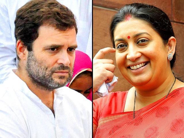 Combination photograph of Congress vice president Rahul Gandhi and Union HRD minister Smriti Irani (Agencies)