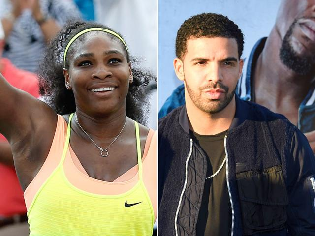 A composite photograph of Serena Williams, left, and Drake.