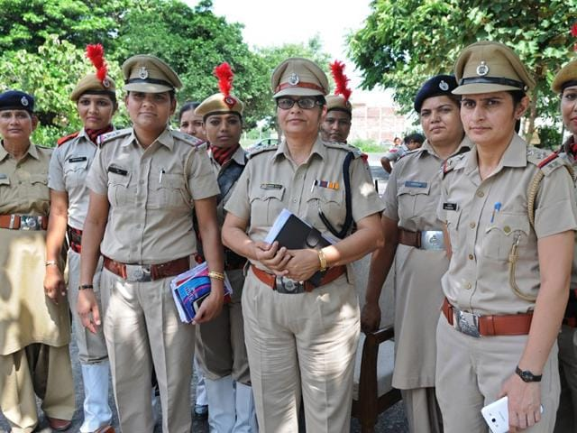 DSP Vidya Wati along with other women officers outside Women Police Station in Panipat on Tuesday. Gurminder Singh /HT