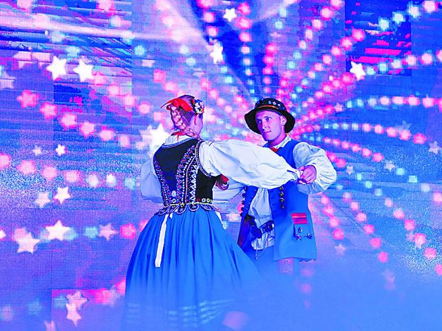 Polish artistes perform at the closing function of the International Ethnic Folklore Festival on Thursday. (Abhinav Saha/ HT Photo)