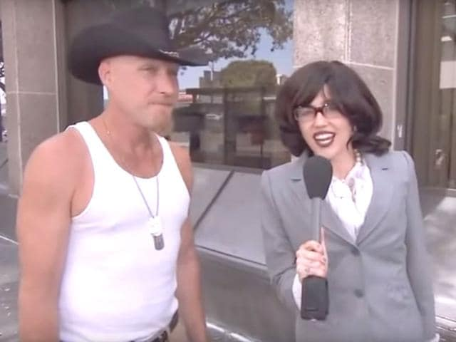 Miley Cyrus as Australian reporter, Janet quizzing people about herself in Los Angeles, USA.